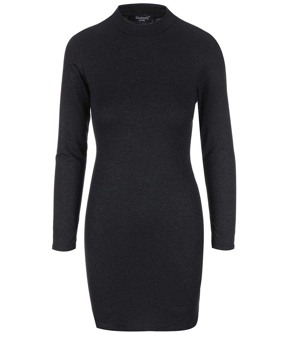 Černé šaty s dlouhým rukávem SisterS Point Nopi