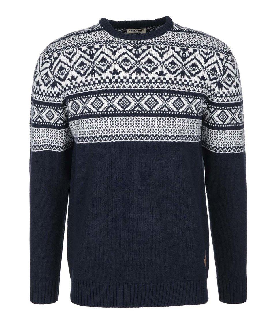 Tmavě modrý svetr s bílým norským vzorem Jack & Jones Winter