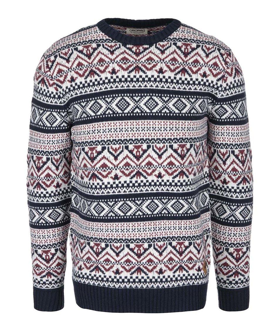 Tmavě modrý svetr s červeno-bílým norským vzorem Jack & Jones Winter
