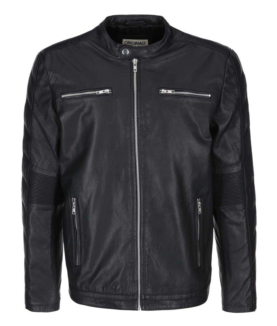 Černá kožená bunda Jack & Jones Toscana