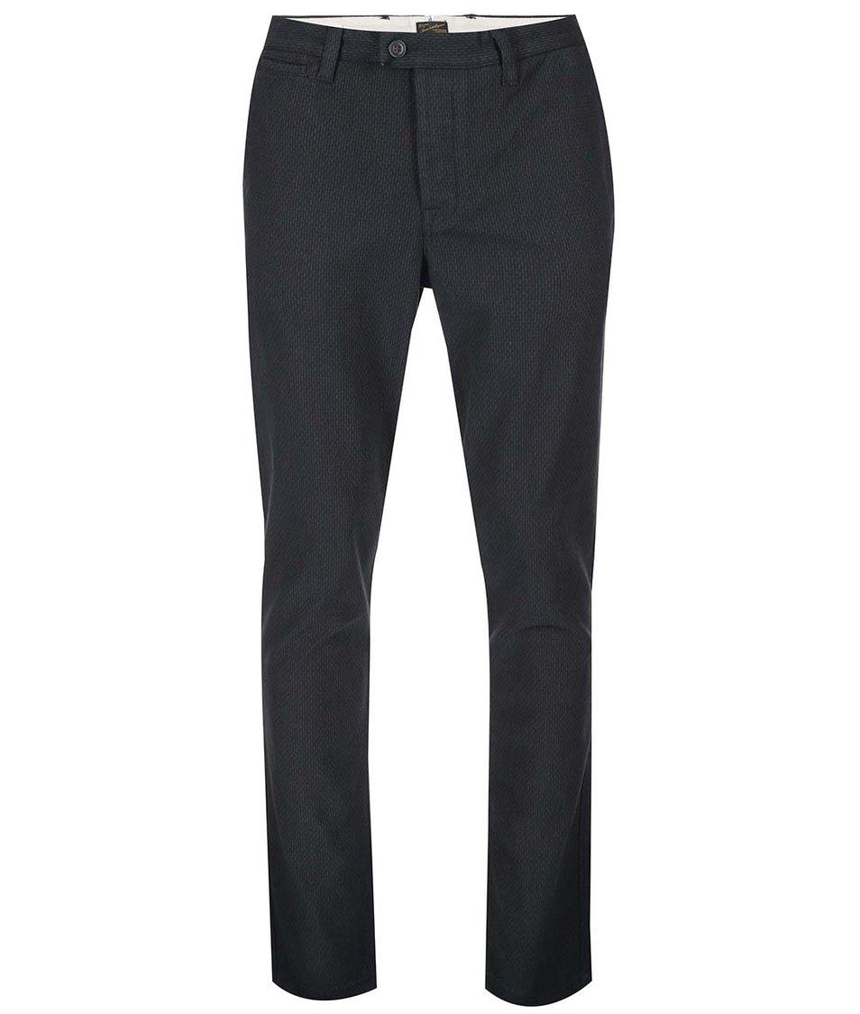 Černé chino kalhoty s jemným vzorem Jack & Jones Marco