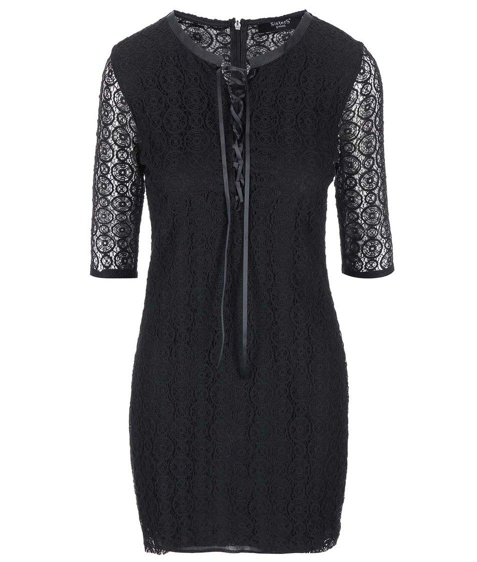 Černé krajkované šaty s dlouhým rukávem SisterS Point Ekon