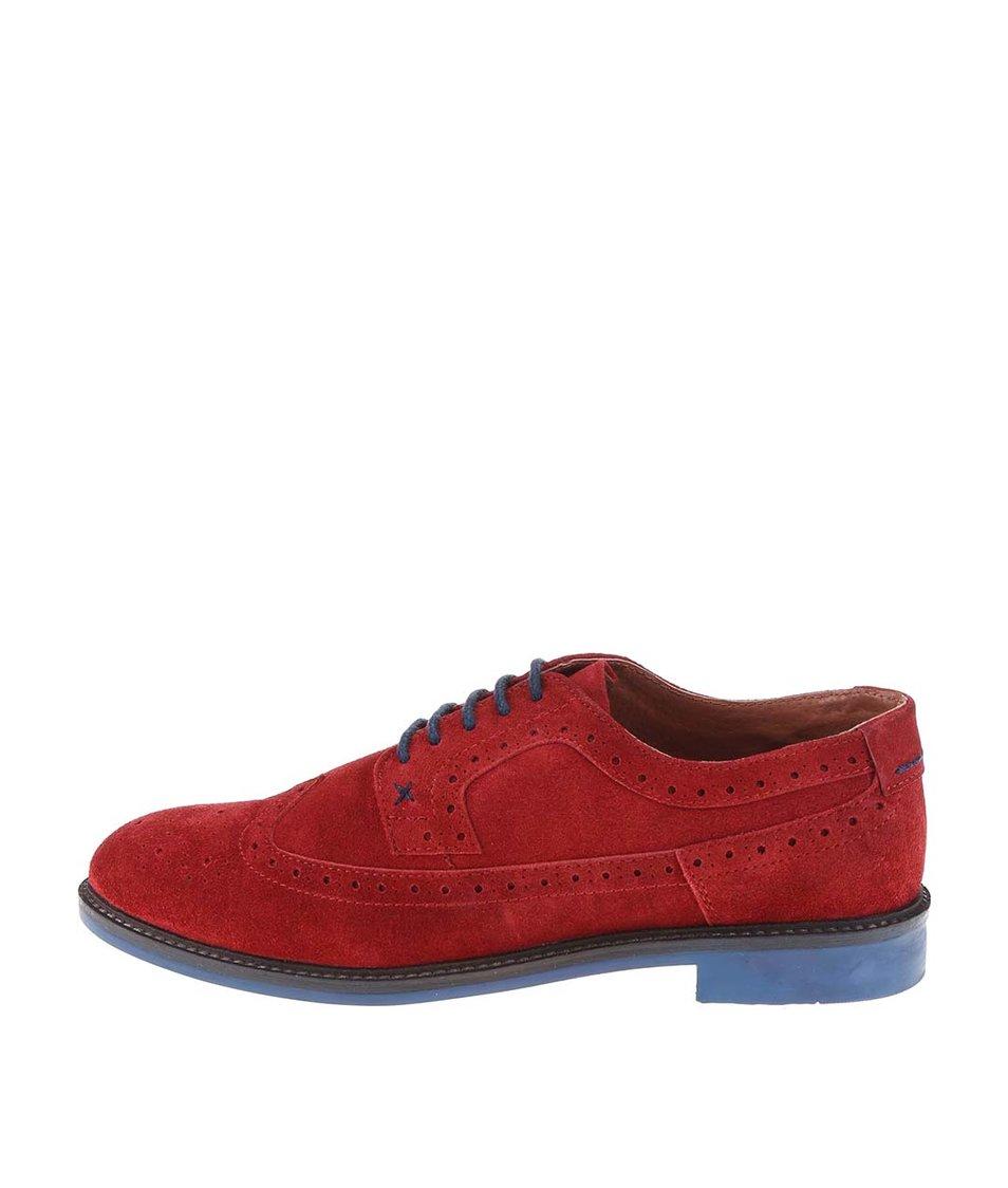 Červené kožené polobotky s modrou podrážkou Dice Beckworth