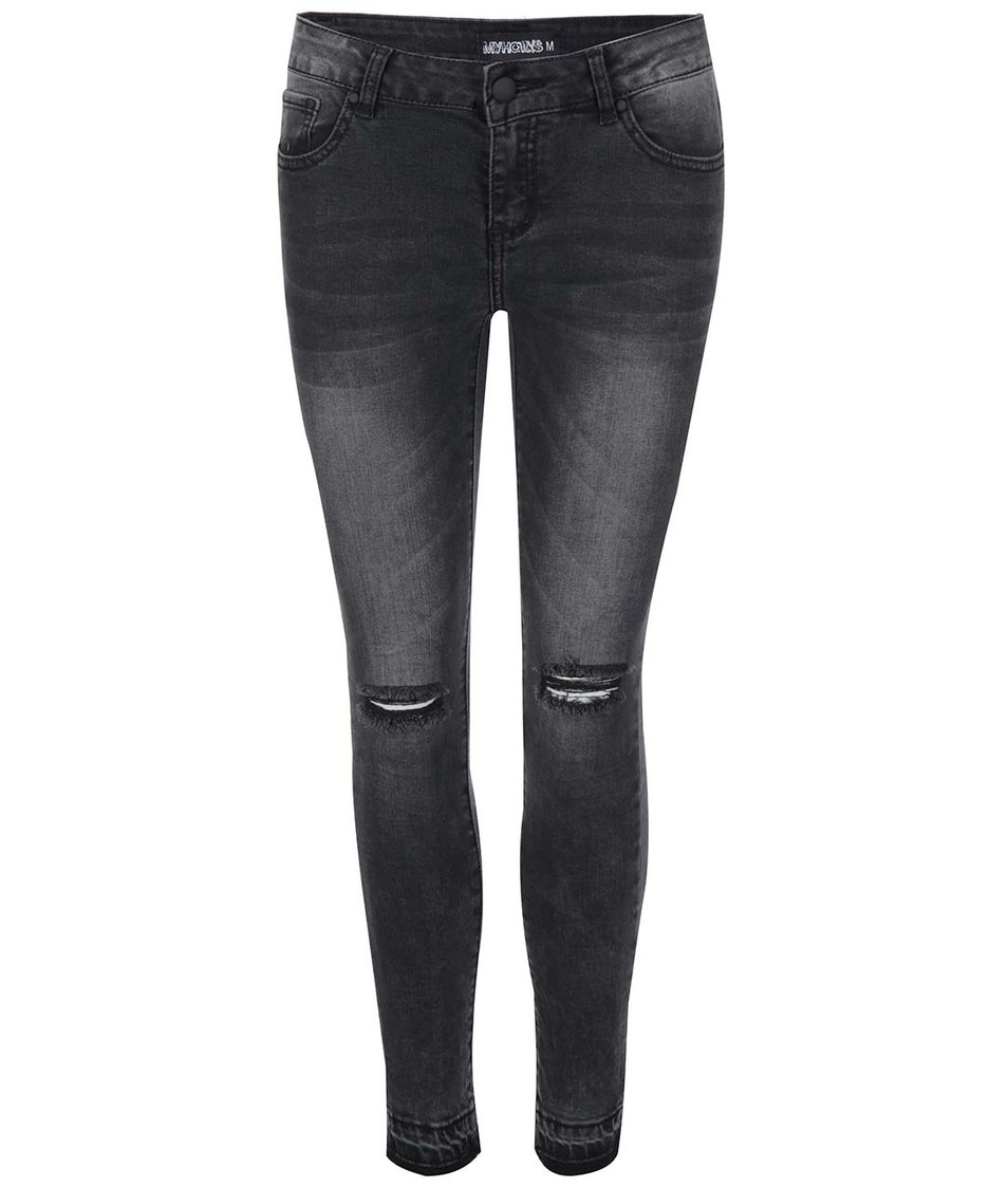Černé dámské džíny s dírami na kolenou Haily´s Salina
