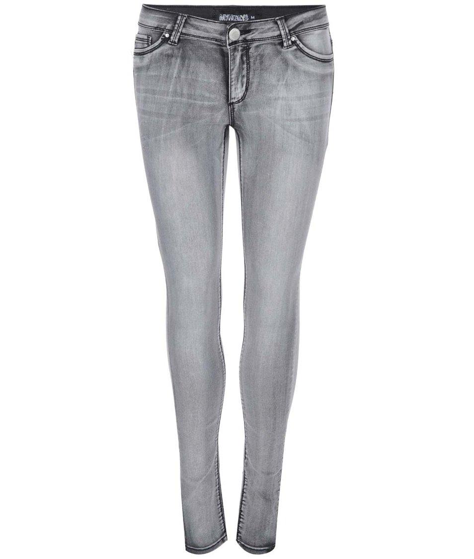 Šedé džíny s opraným efektem Haily´s Taya