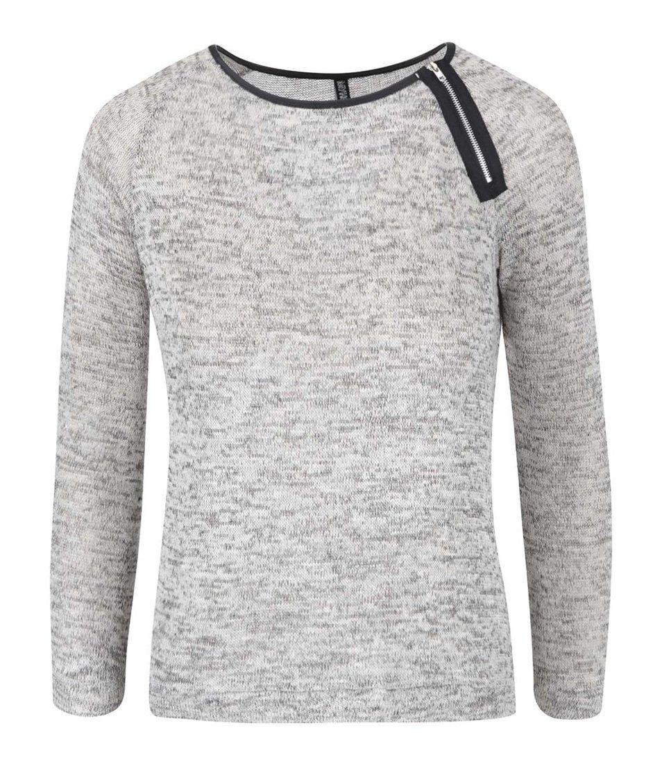 Šedé žíhané tričko s detailem zipu Haily´s Ellie