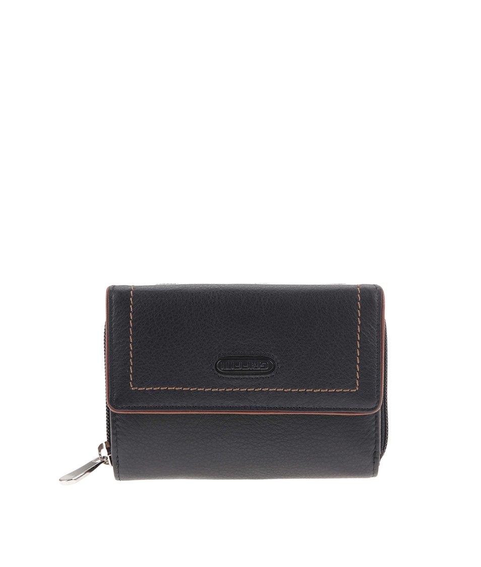 Černá kožená peněženka s hnědým lemem graffiti