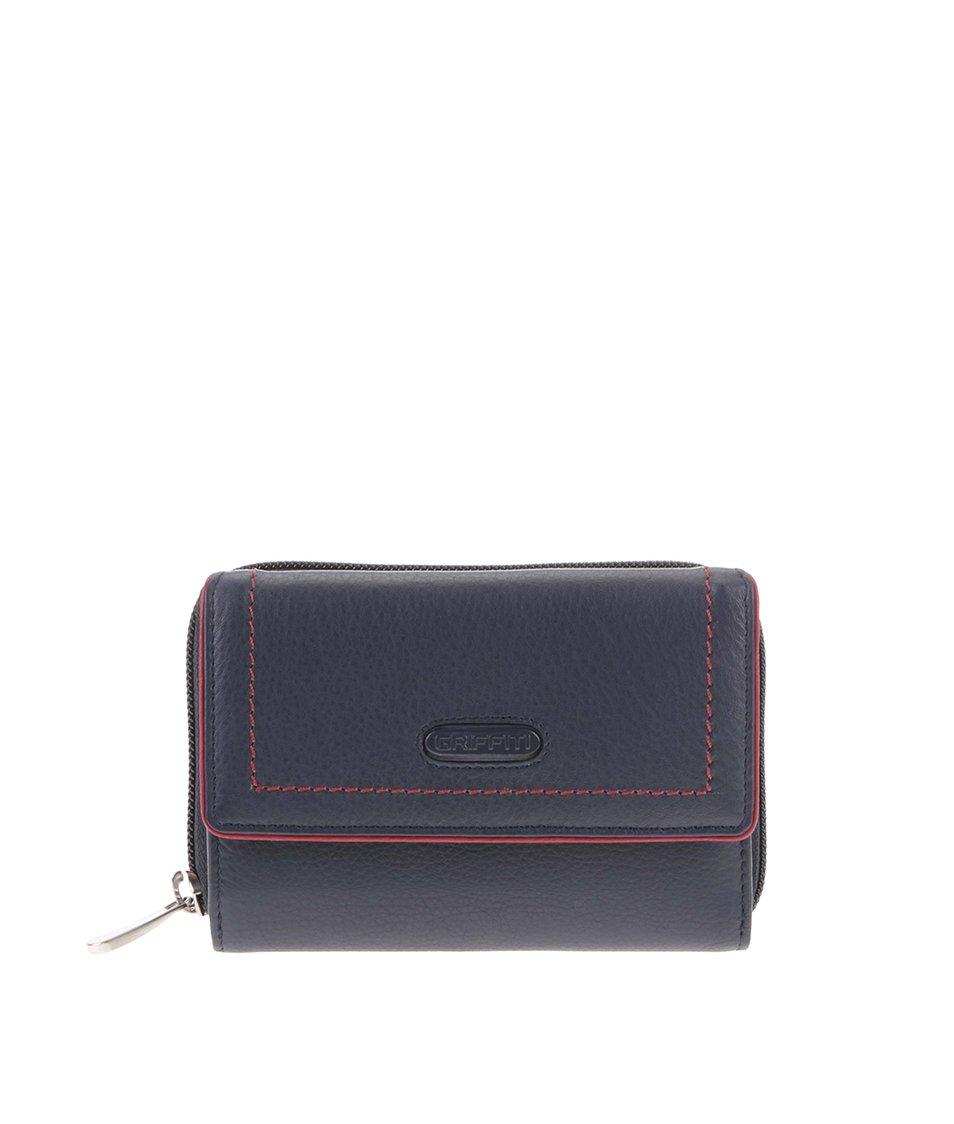 Modrá kožená peněženka s červeným lemem graffiti