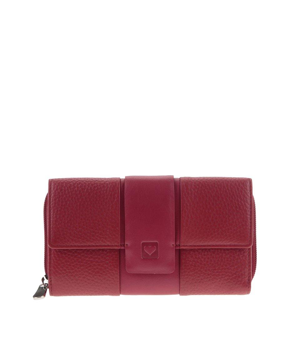Červená kožená peněženka se srdíčkem graffiti