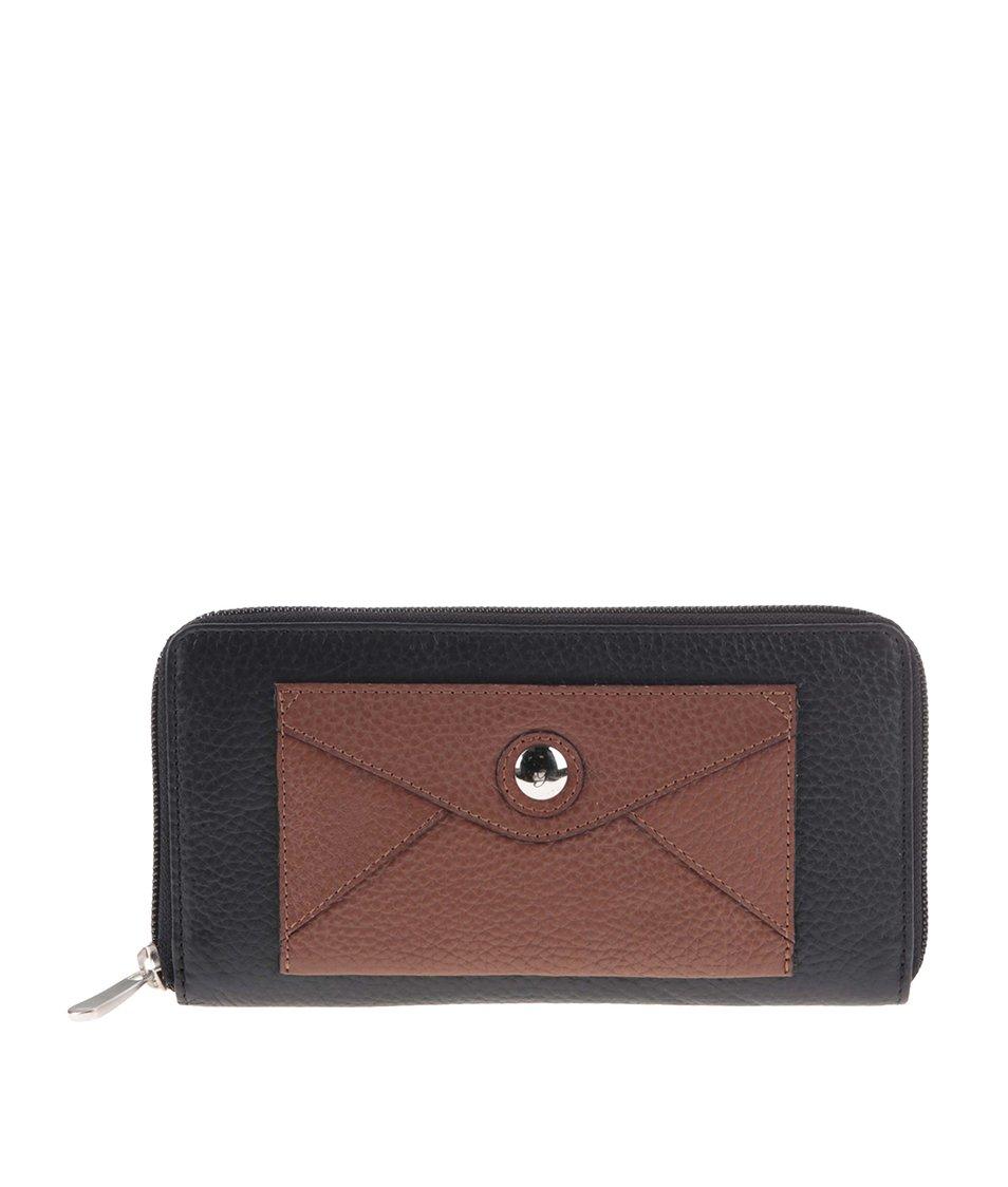 Hnědo-černá kožená peněženka s přední kapsičkou graffiti