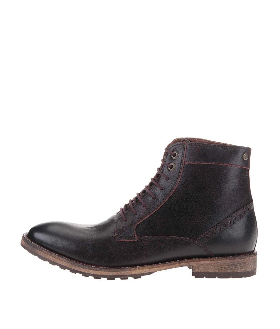 Vínovohnědé kožené kotníkové boty Frank Wright Acton