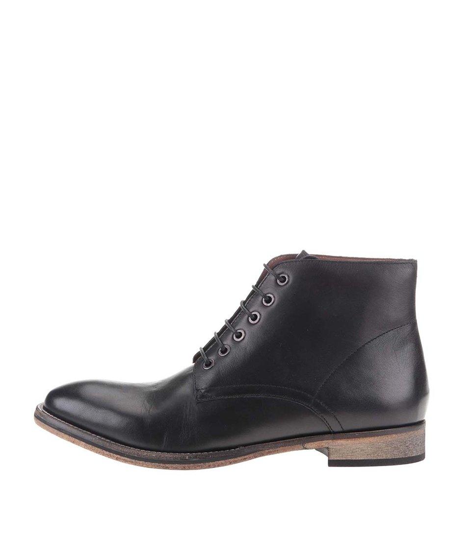 Černé kožené kotníkové boty Frank Wright Oval
