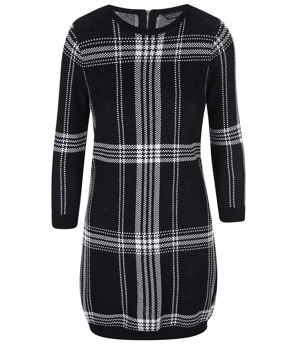 Bílo-černé pletené šaty s 3/4 rukávyDorothy Perkins