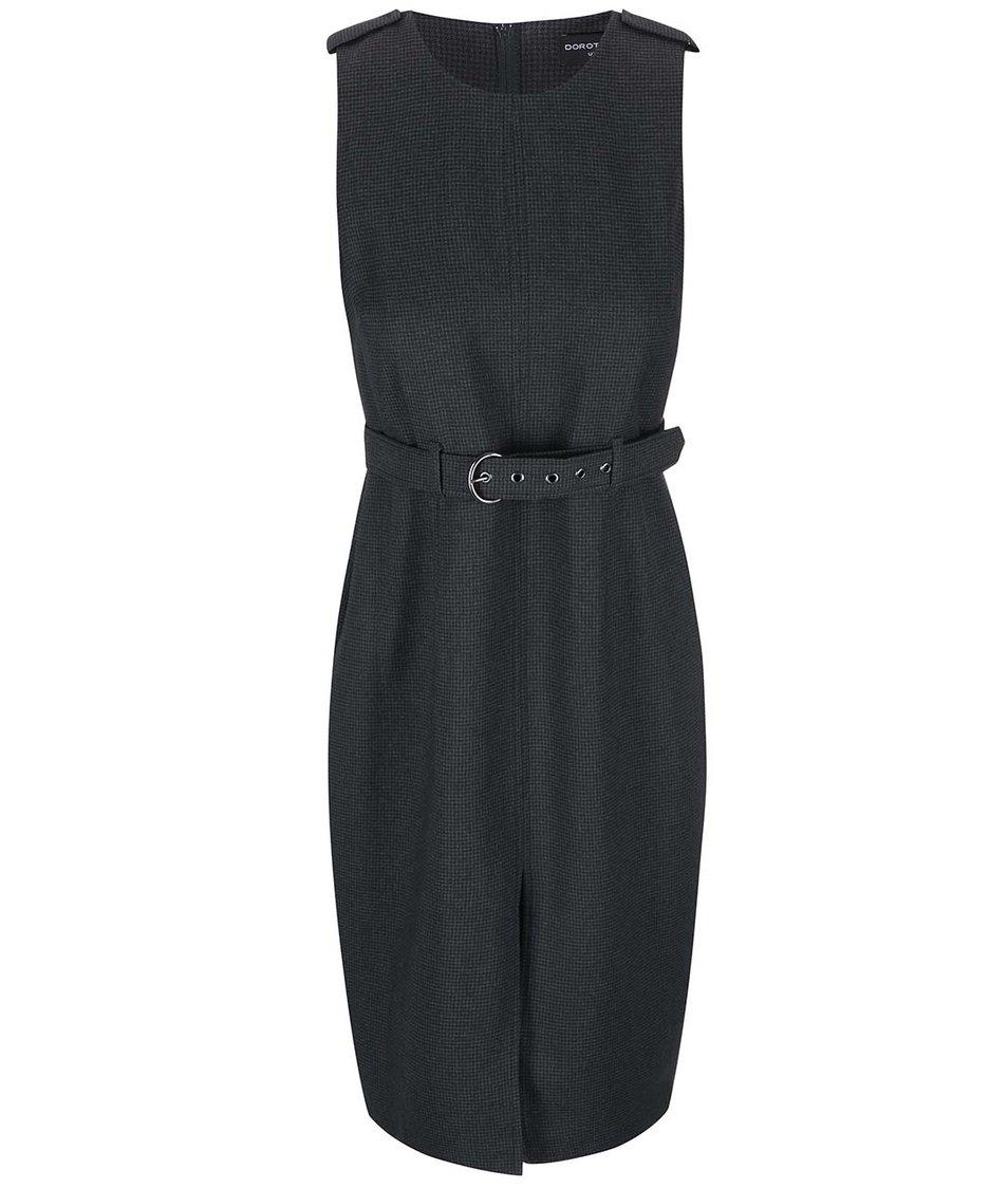 Šedozelené vzorované šaty s páskem Dorothy Perkins