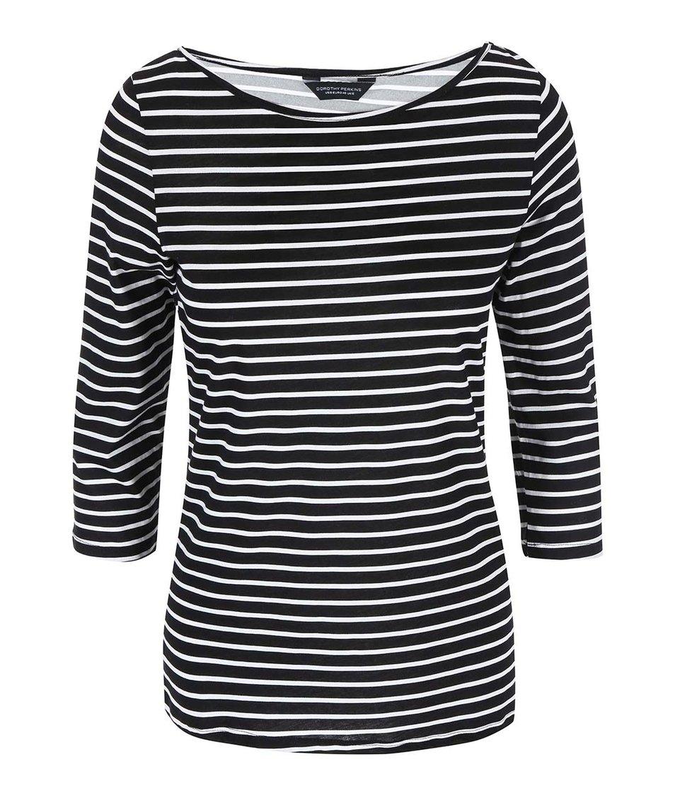 Bílo-černé pruhované triko Dorothy Perkins