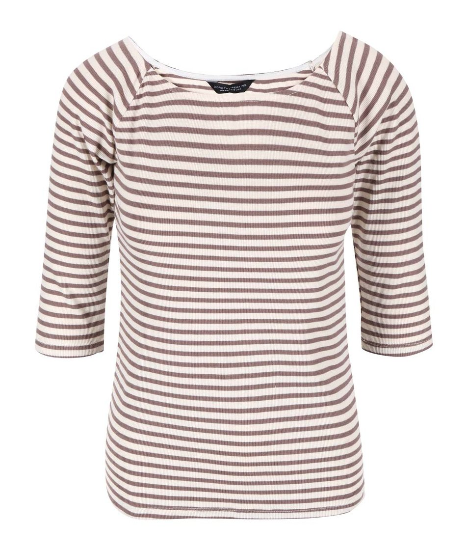 Hnědo-béžové pruhované triko Dorothy Perkins
