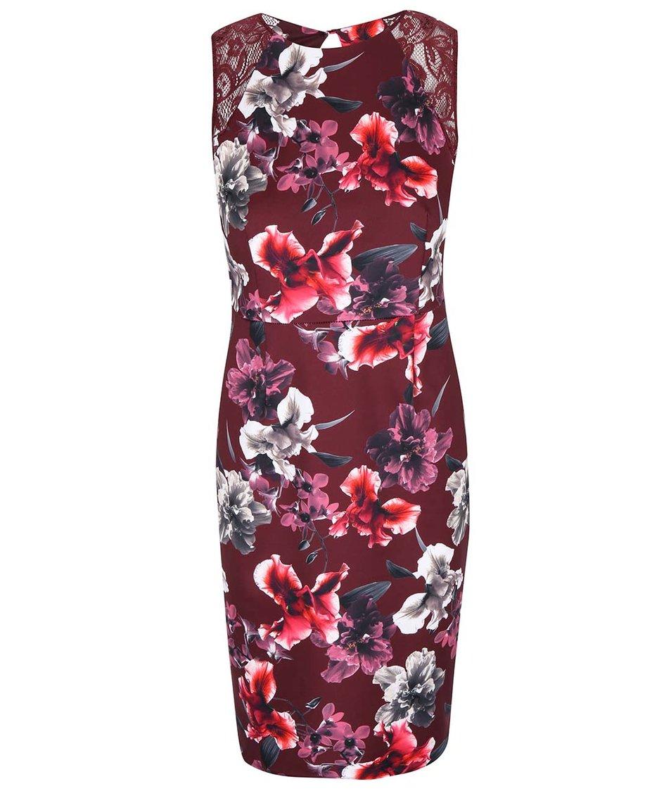 Vínové květované pouzdrové šaty Dorothy Perkins
