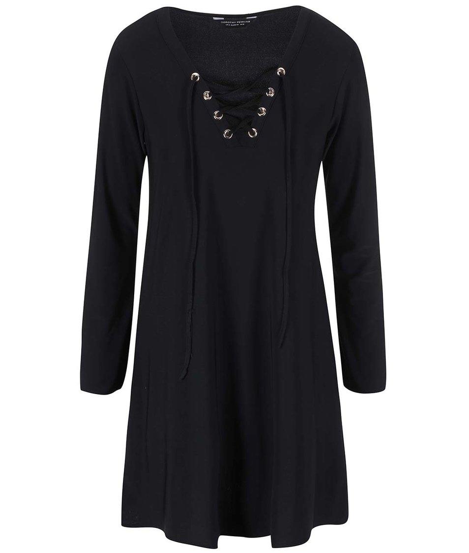 Černé šaty se šněrovacím výstřihem Dorothy Perkins