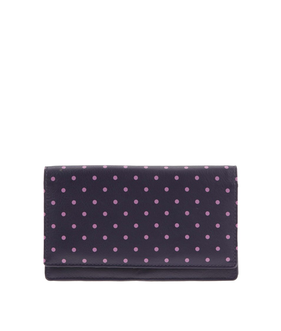 Tmavě fialová kožená peněženka s růžovými  puntíky Golunski