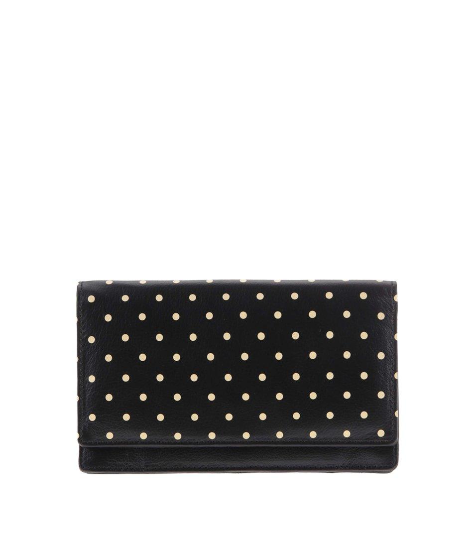 Černá kožená peněženka s béžovými puntíky Golunski