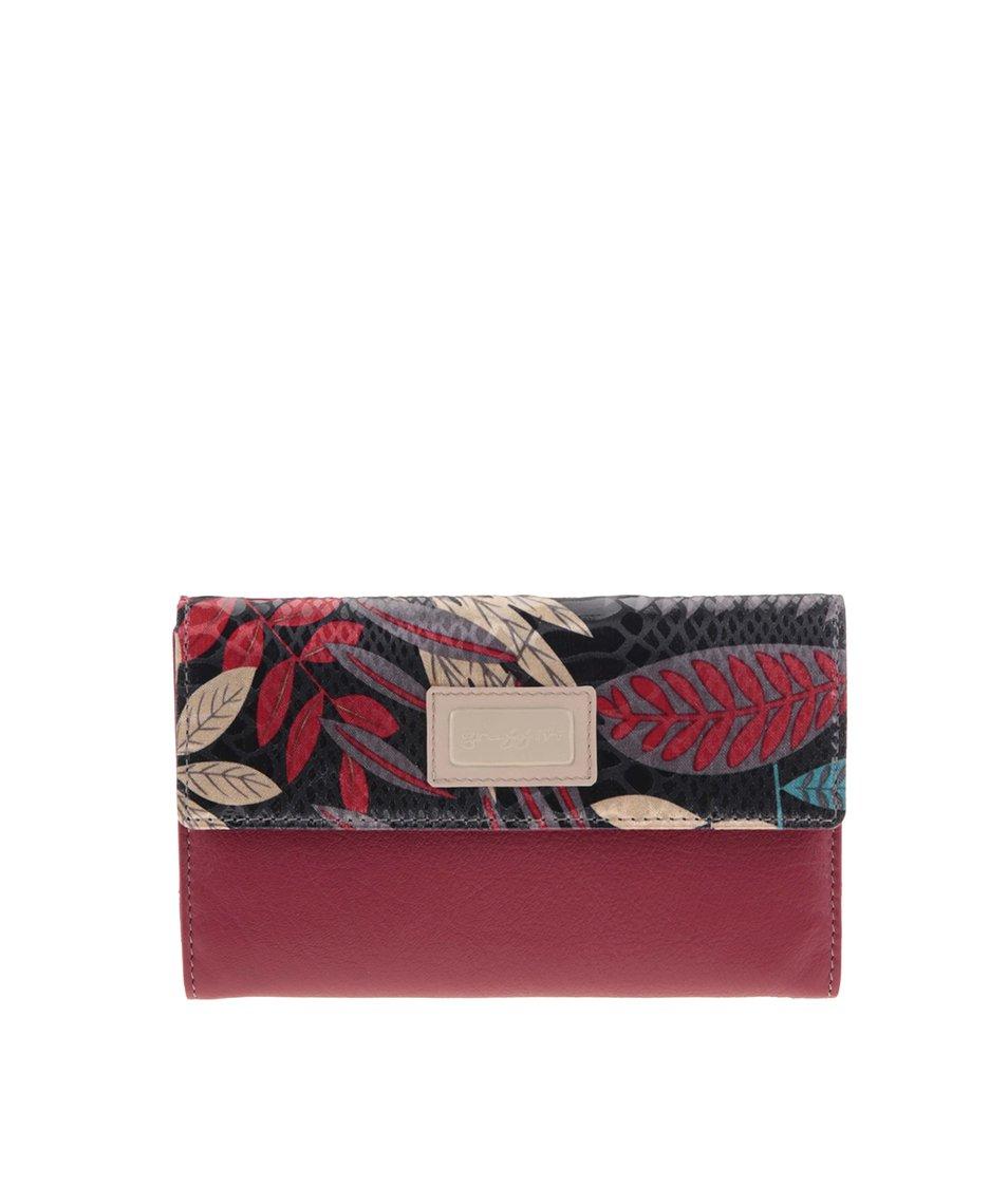 Červená kožená peněženka s motivem listí graffiti