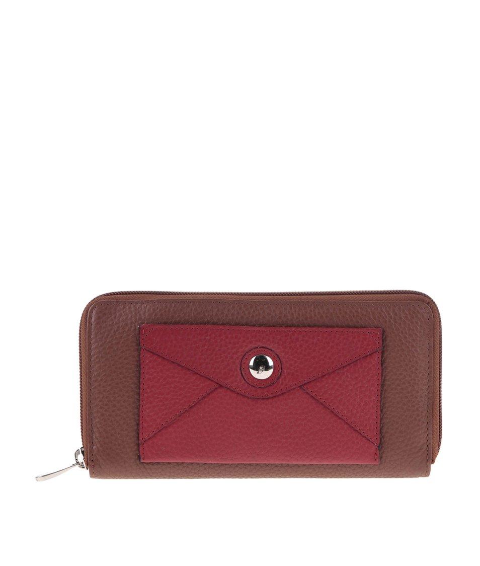 Červeno-hnědá kožená peněženka s přední kapsičkou graffiti
