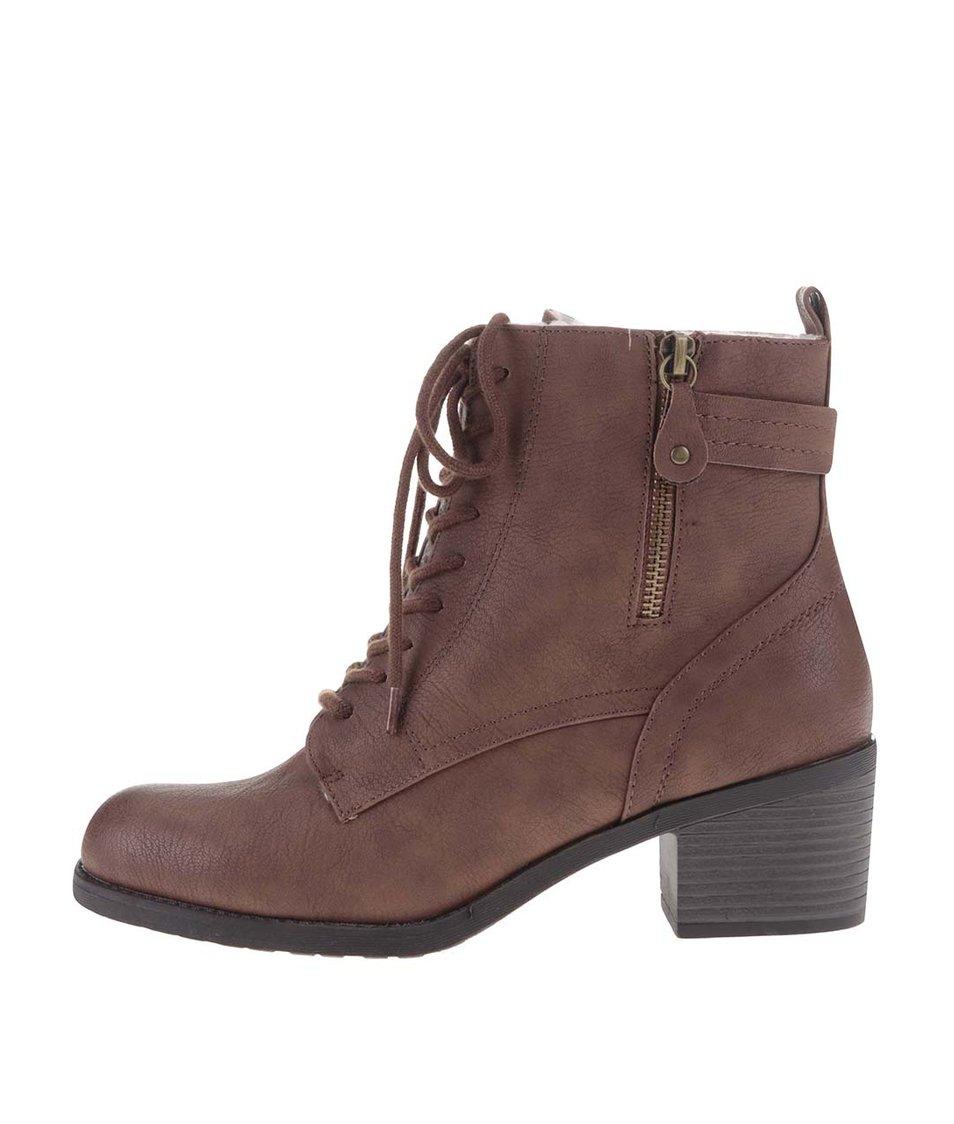 Hnědé kotníkové boty na šněrování Dorothy Perkins