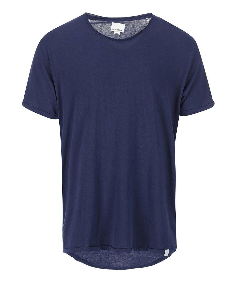 Tmavě modré triko s prodlouženou zadní částí Shine Original