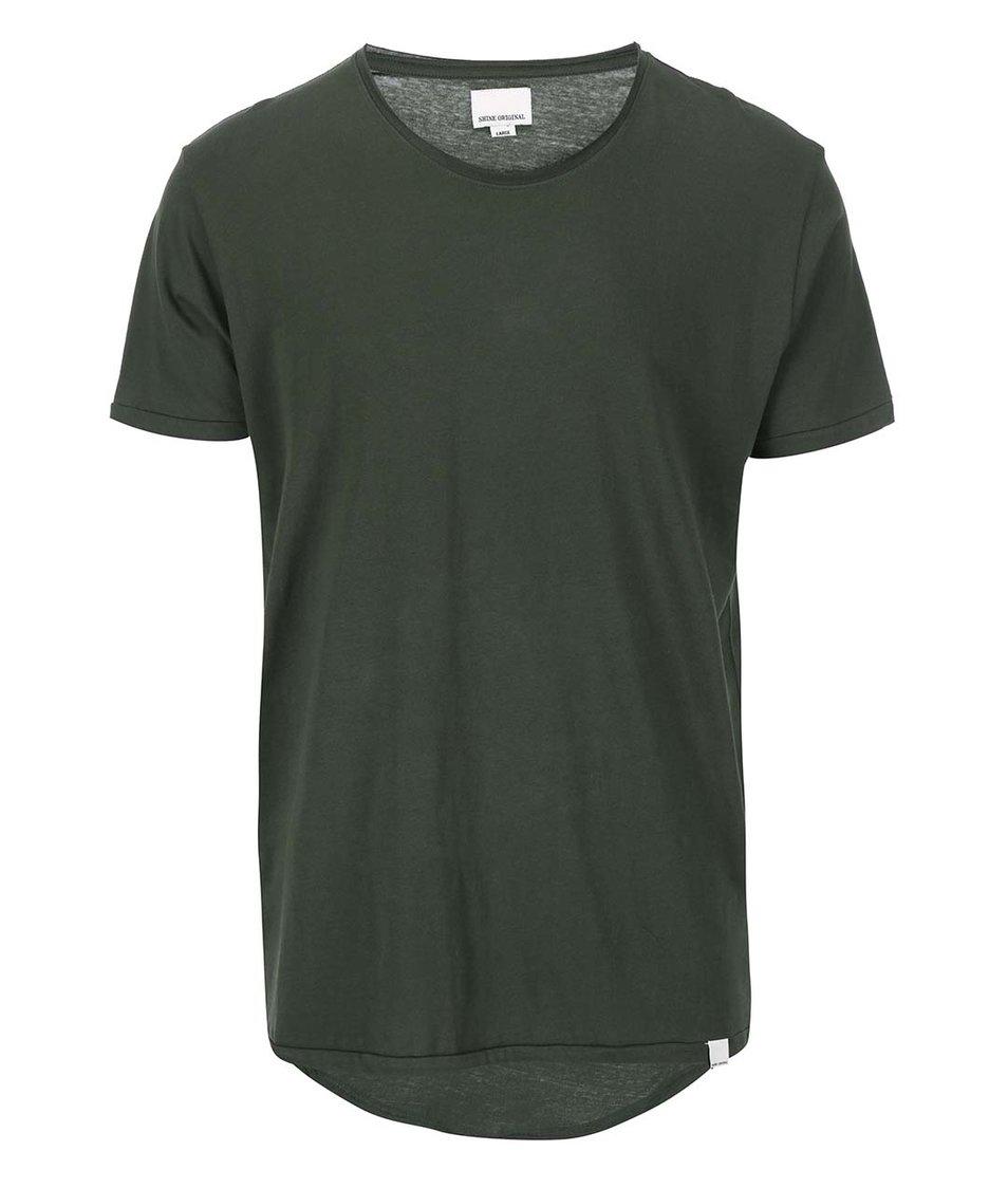 Tmavě zelené triko s prodlouženou zadní částí Shine Original
