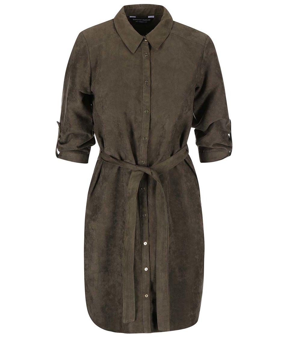 Khaki košilové šaty se semišovým vzhledem Dorothy Perkins