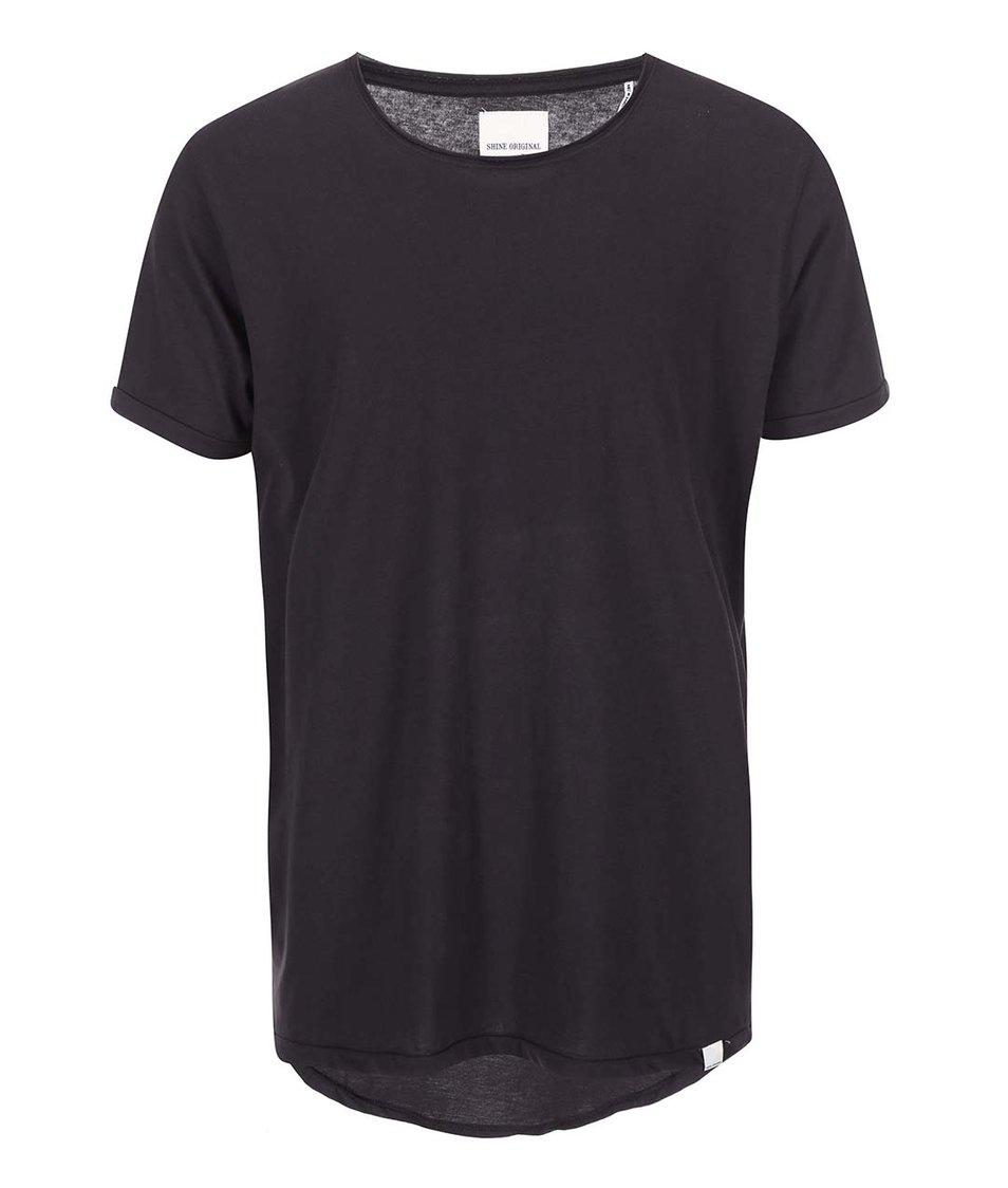Černé triko s prodlouženou zadní částí Shine Original