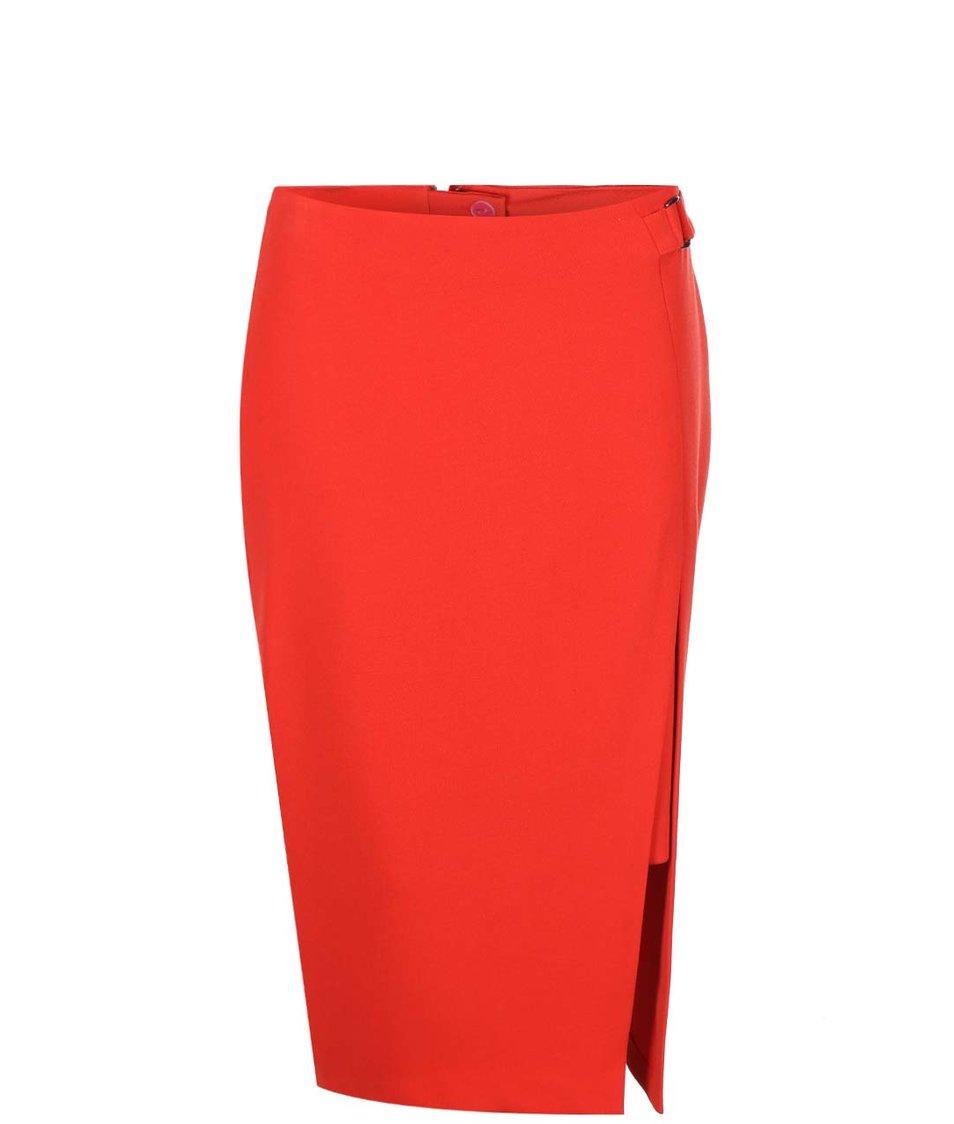 Červená pouzdrová sukně s rozparkem Dorothy Perkins