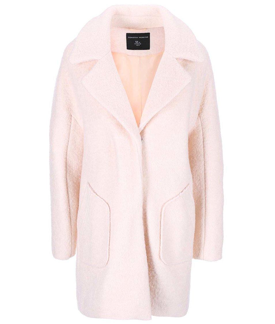 Světle růžový vlněný kabát Dorothy Perkins