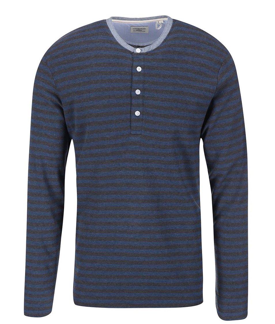 Modro-šedé pruhované triko s dlouhým rukávem Lindbergh
