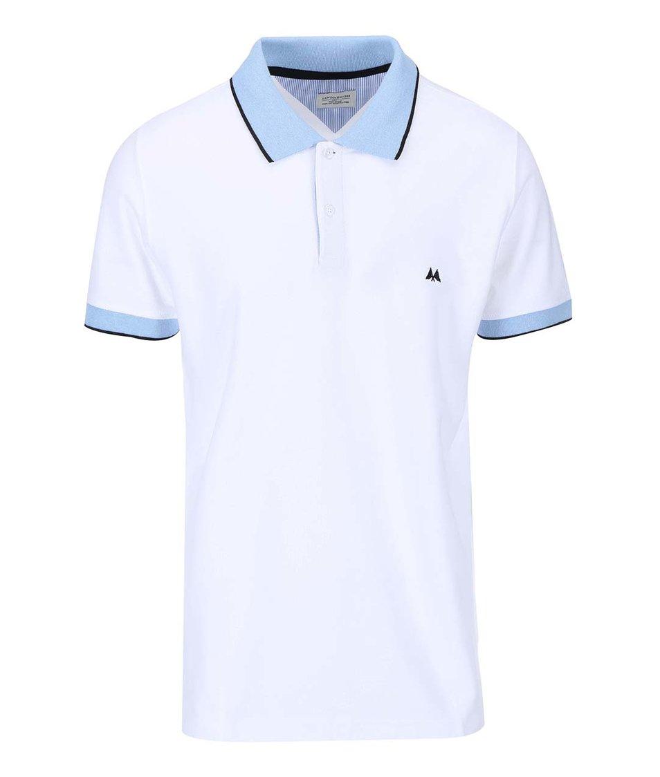 Bílé polo triko se světle modrými detaily Lindbergh
