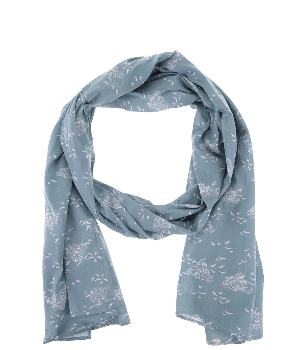 Modrý šátek s bílým vzorem Brakeburn Birds & Clouds