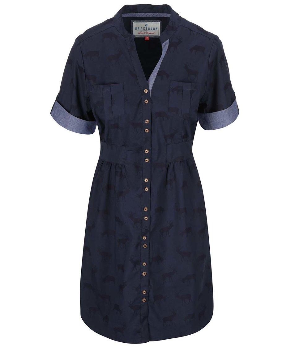 Modré šaty s potiskem jelenů Brakeburn Stag