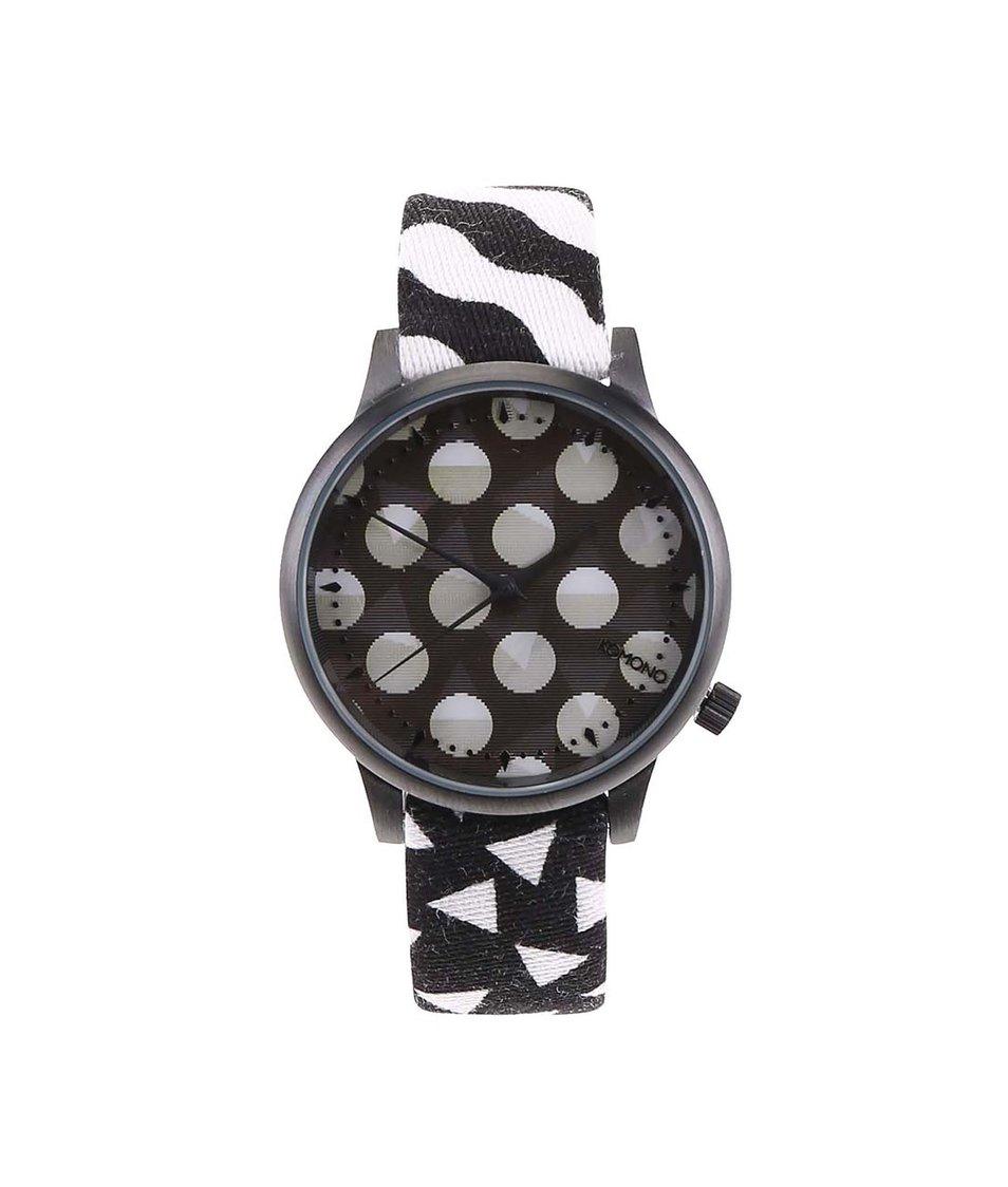 Bílo-černé hodinky s holografickým ciferníkem Komono Estelle Black