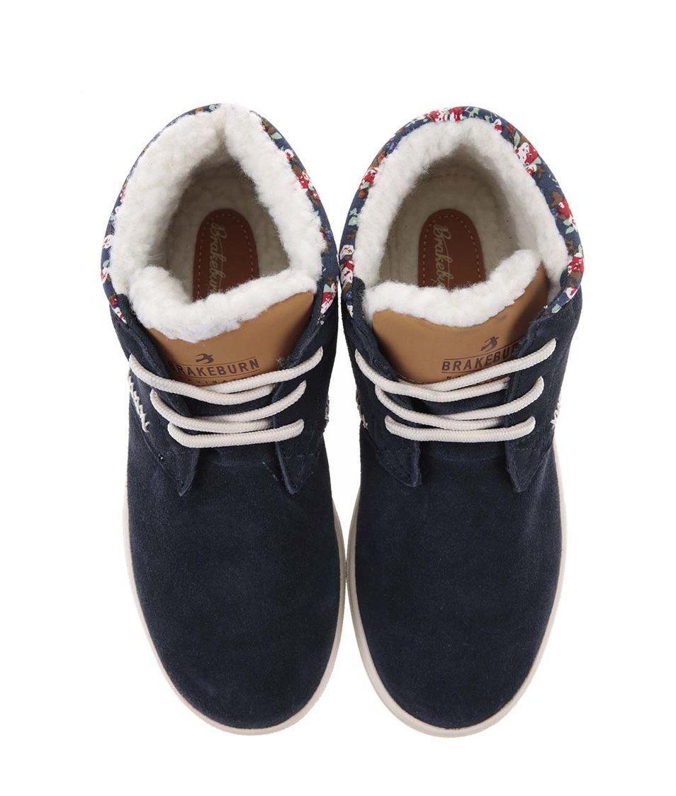 Modré kožené kotníkové boty s kožíškem Brakeburn Parley