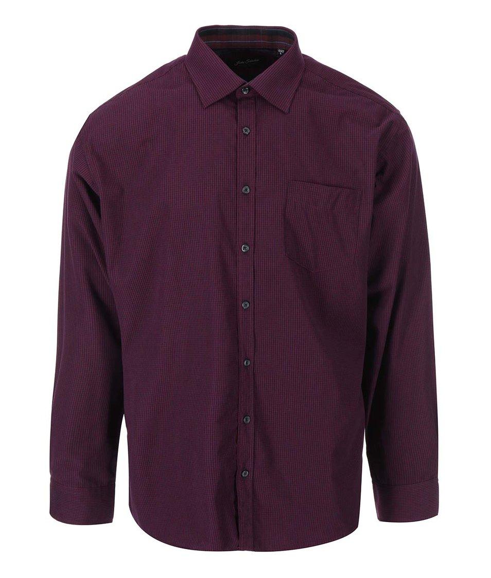 Vínová košile s drobným kostkovaným vzorem Jacks