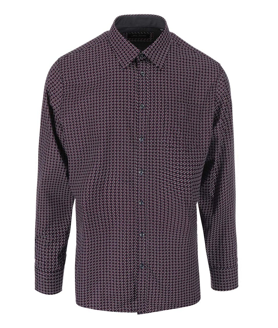 Tmavě modrá košile s bílo-červeným vzorováním Jacks
