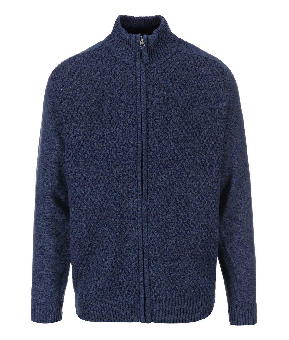Modrý proplétaný svetr se zipem Jacks