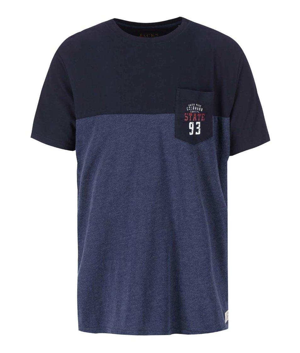 Modro-černé žíhané triko s náprsní kapsou Jacks