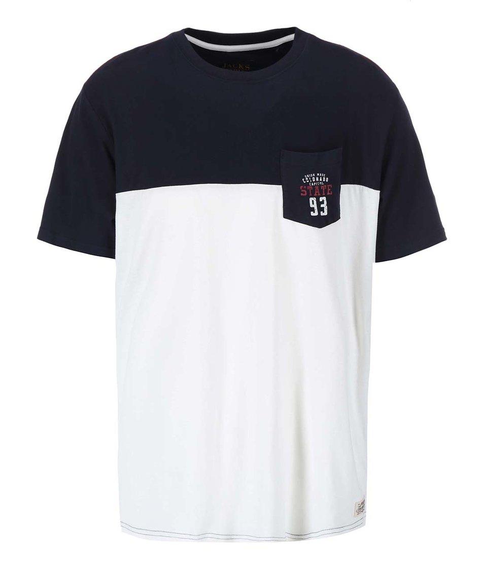 Krémovo-modré triko s náprsní kapsou Jacks