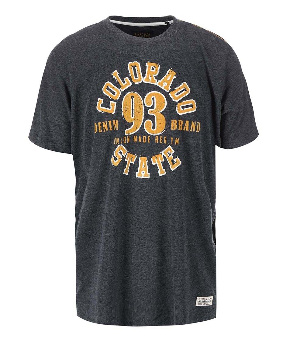 Tmavě šedé žíhané triko Jacks