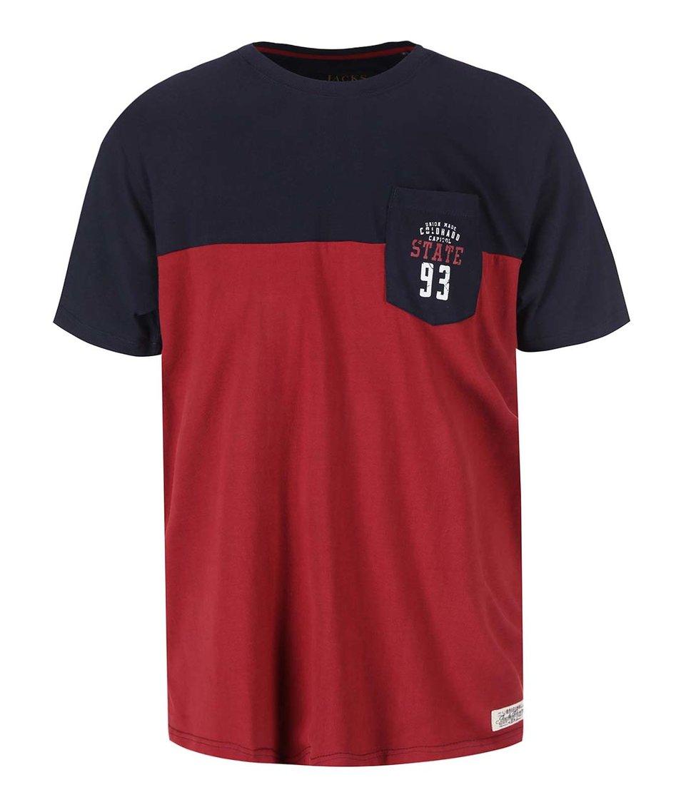 Červeno-modré triko s náprsní kapsou Jacks