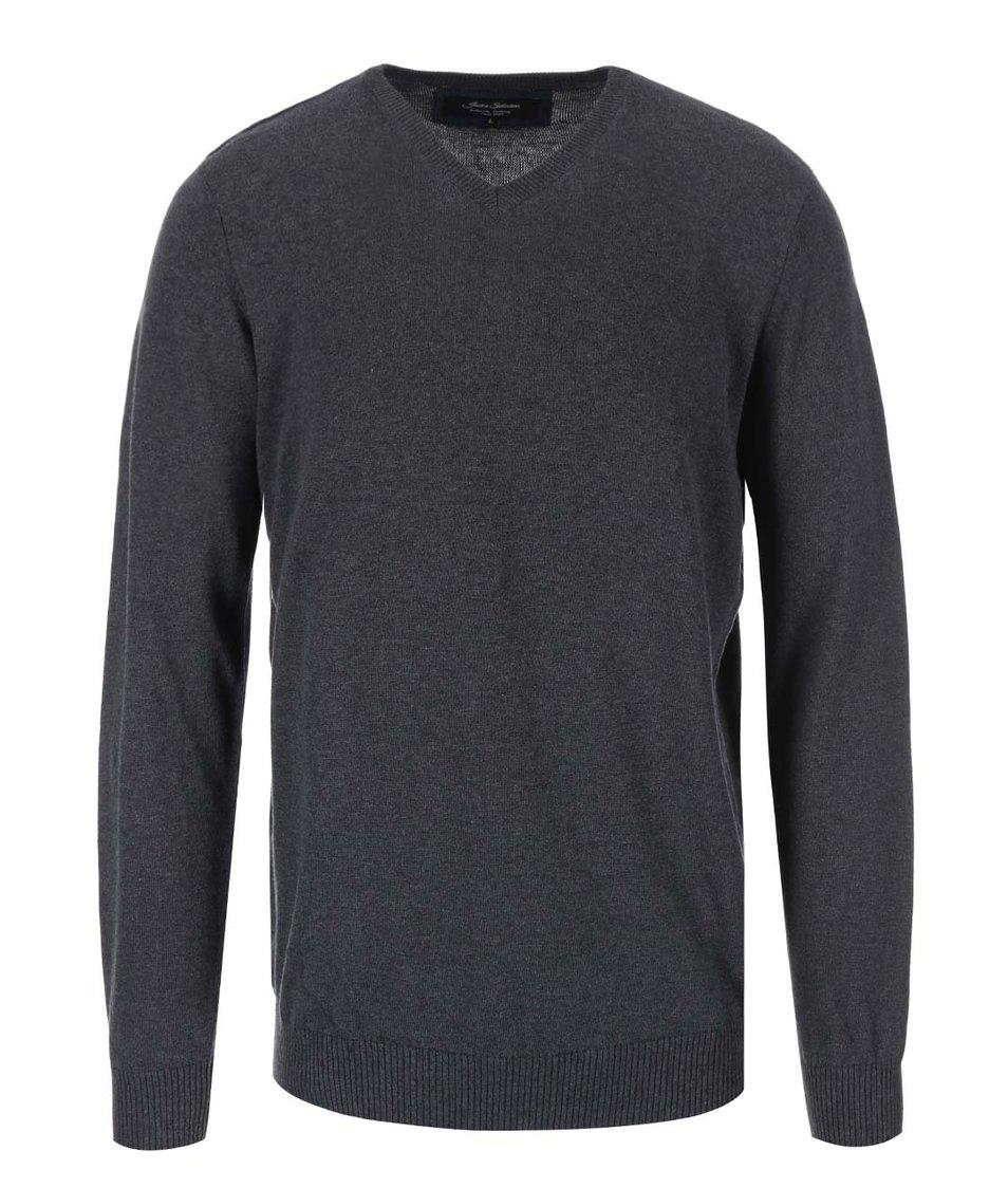 Tmavě šedý svetr s véčkovým výstřihem Jacks