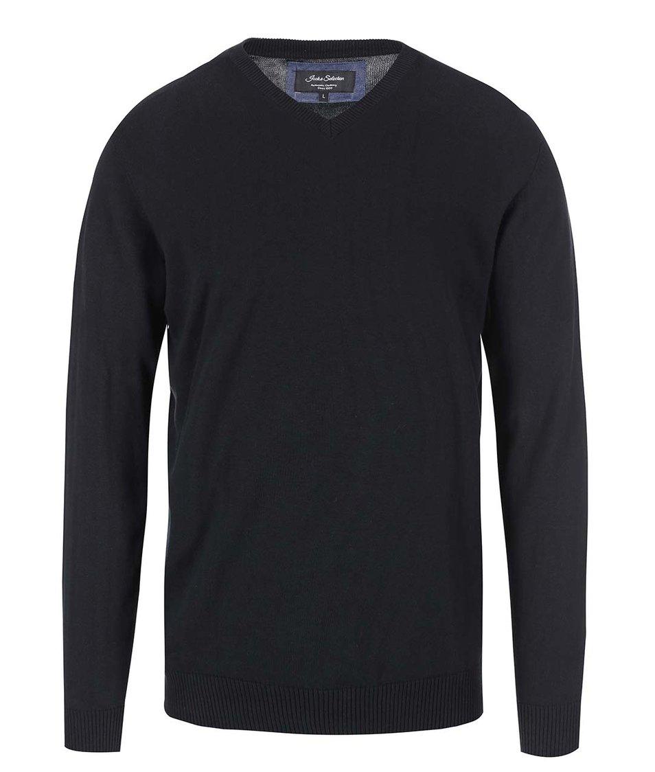 Černý svetr s véčkovým výstřihem Jacks
