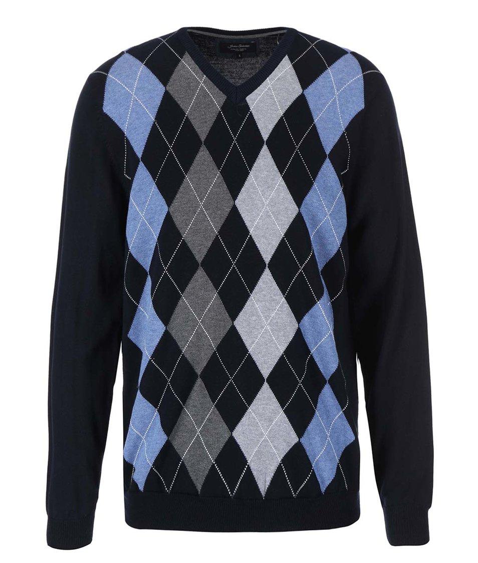 Tmavě modrý svetr s šedo-modrými kosočtverci Jacks