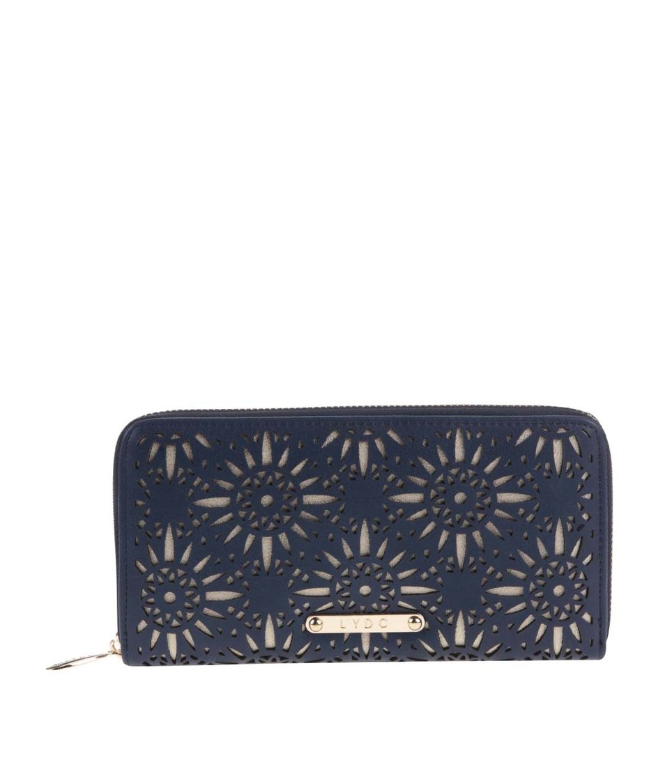 Tmavé modrá peněženka se vzory v zlaté barvě LYDC